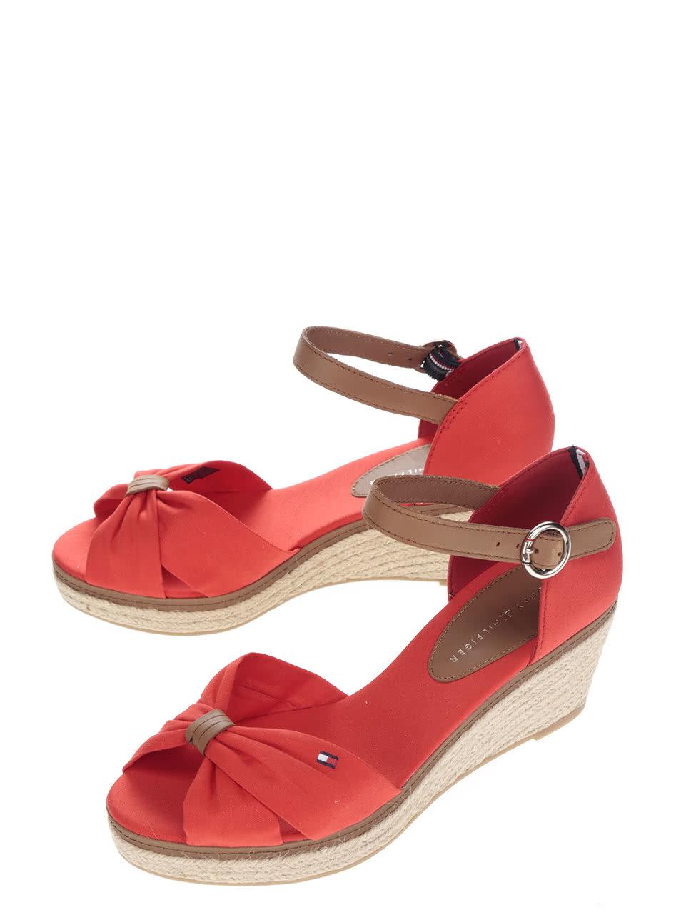 Červené dámské sandály na klínku Tommy Hilfiger ... d9d390f6f3