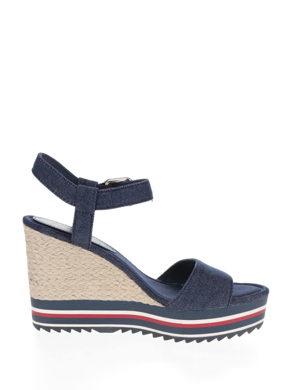 Modré dámské sandály na klínku Tommy Hilfiger ... e62e6ce408