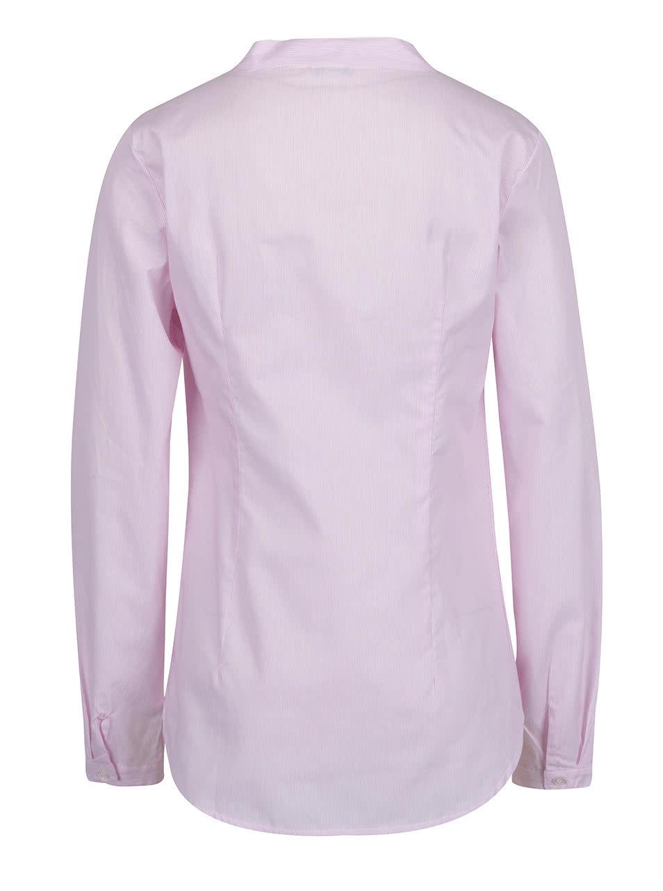 Světle růžová pruhovaná košile bez límečku ZOOT ... dab1fc09d3
