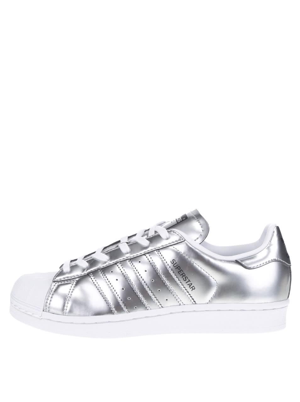 Dámske metalické tenisky v striebornej farbe adidas Originals Superstar ... c54fd40c541