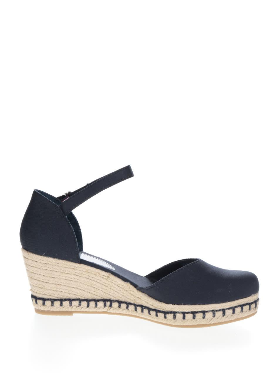 Tmavě modré dámské sandály na klínku Tommy Hilfiger ... c3d20ded02
