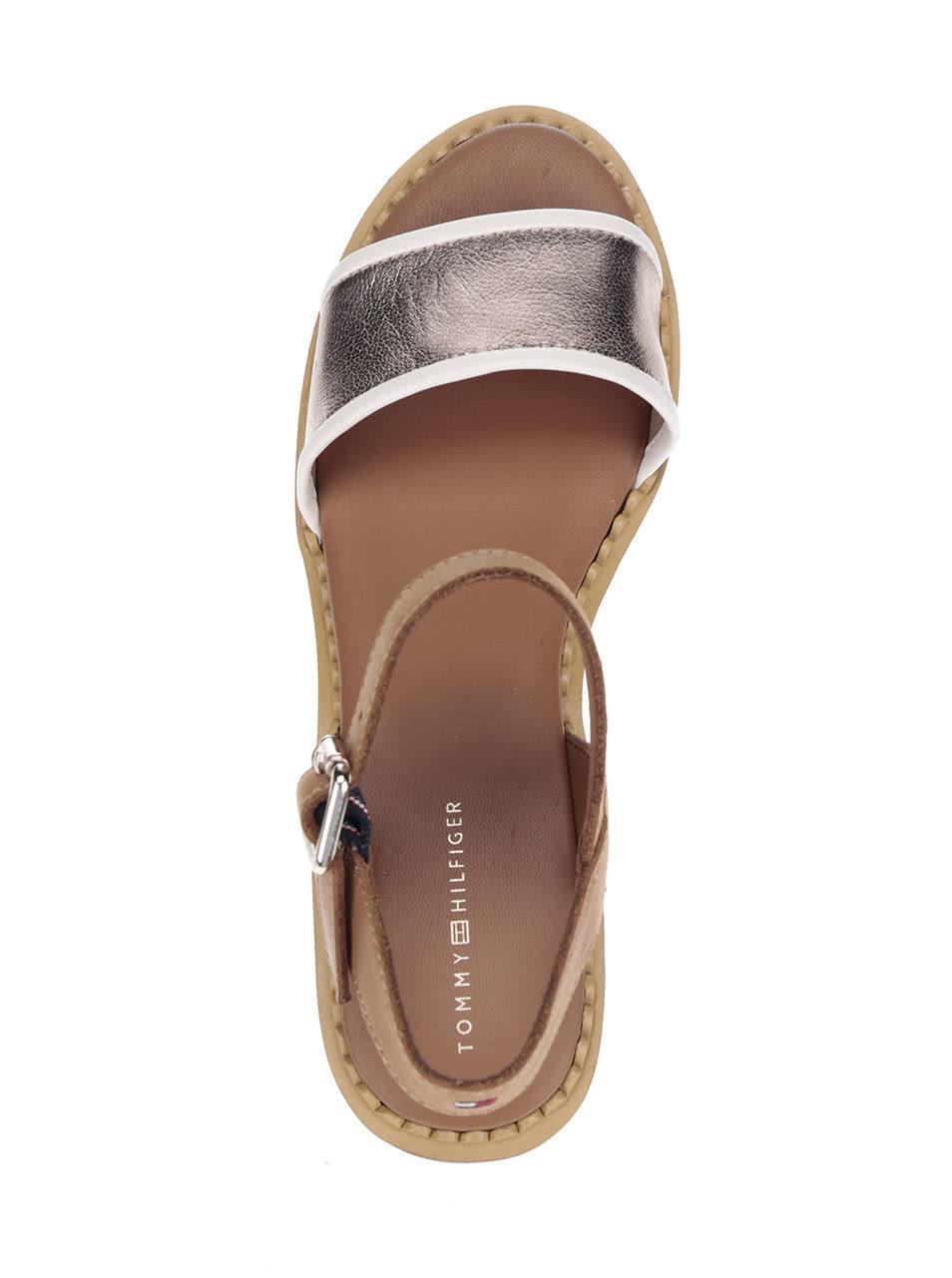 Krémovo-hnědé dámské kožené sandály na platformě Tommy Hilfiger ... 2e69bca1458