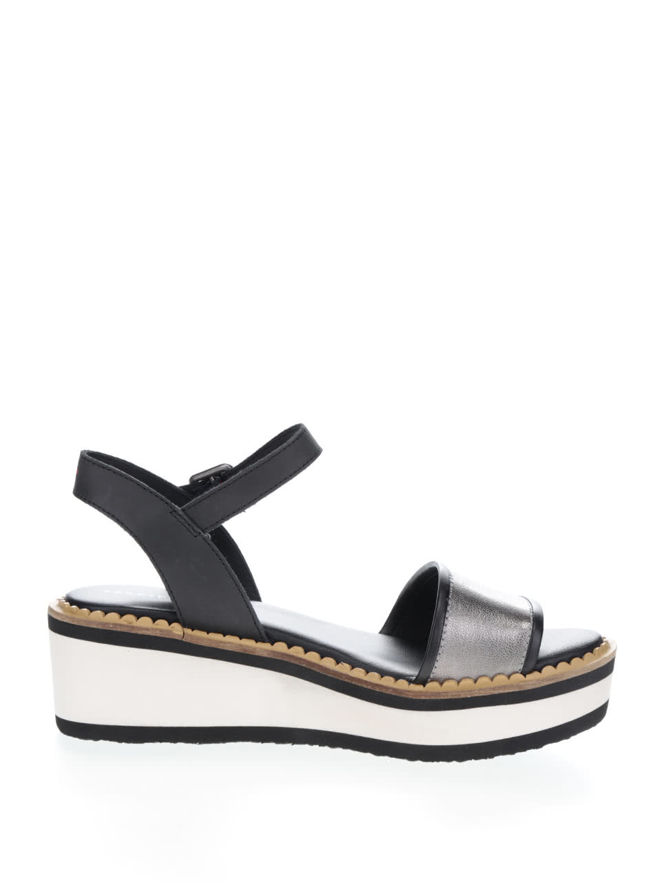 Krémovo-čierne dámske sandále na platforme Tommy Hilfiger ... f8dcc4c4473