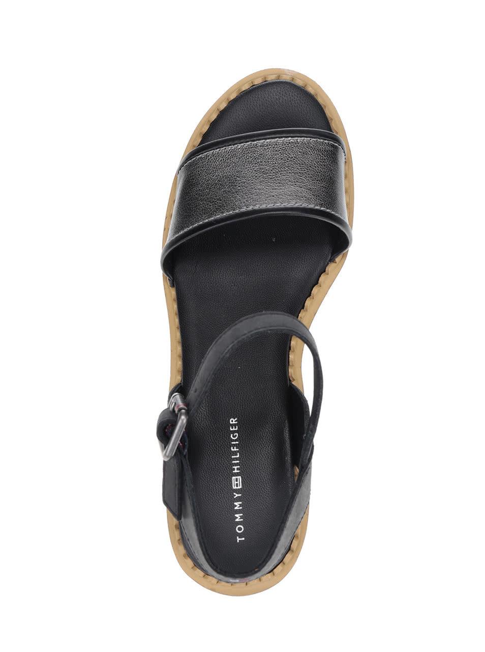 Krémovo-černé dámské kožené sandály na platformě Tommy Hilfiger ... 2af5055d23c