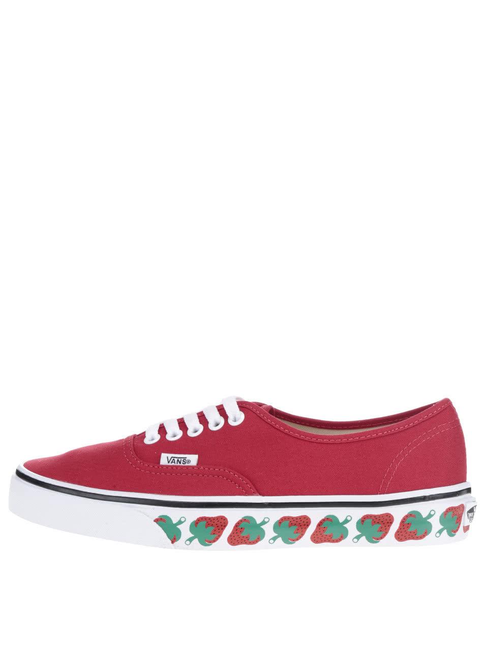 Červené dámske tenisky s motívom jahôd VANS Authentic ... 96d14ca113