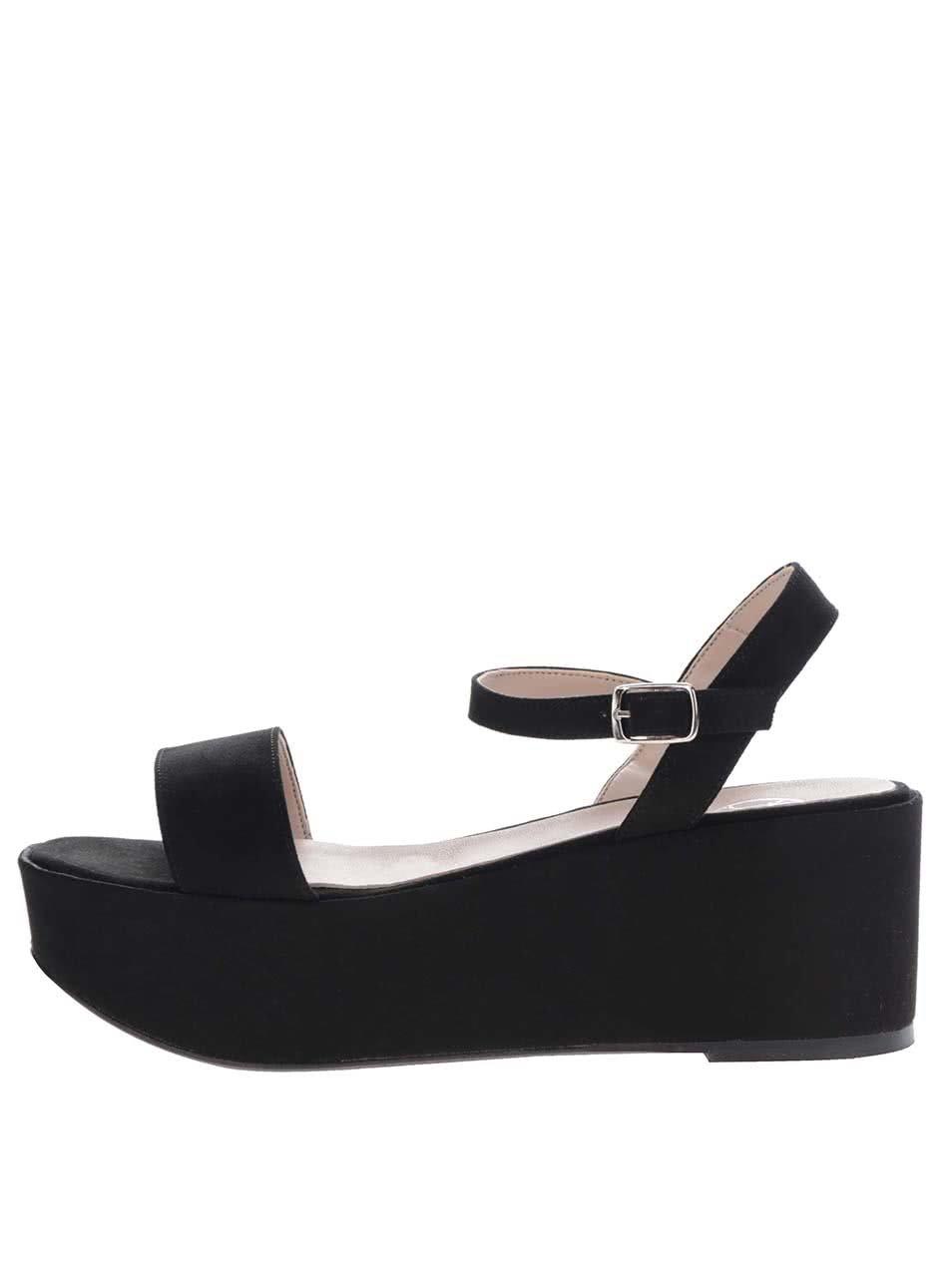 3cd32e9ba53a5 Čierne remienkové sandále v semišovej úprave na platforme OJJU   ZOOT.sk