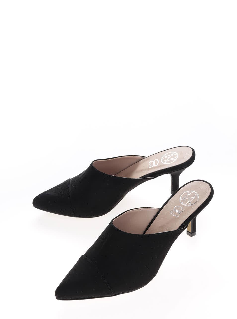 Černé nazouvací boty v semišové úpravě na podpatku OJJU ... 28dc2ad3e9