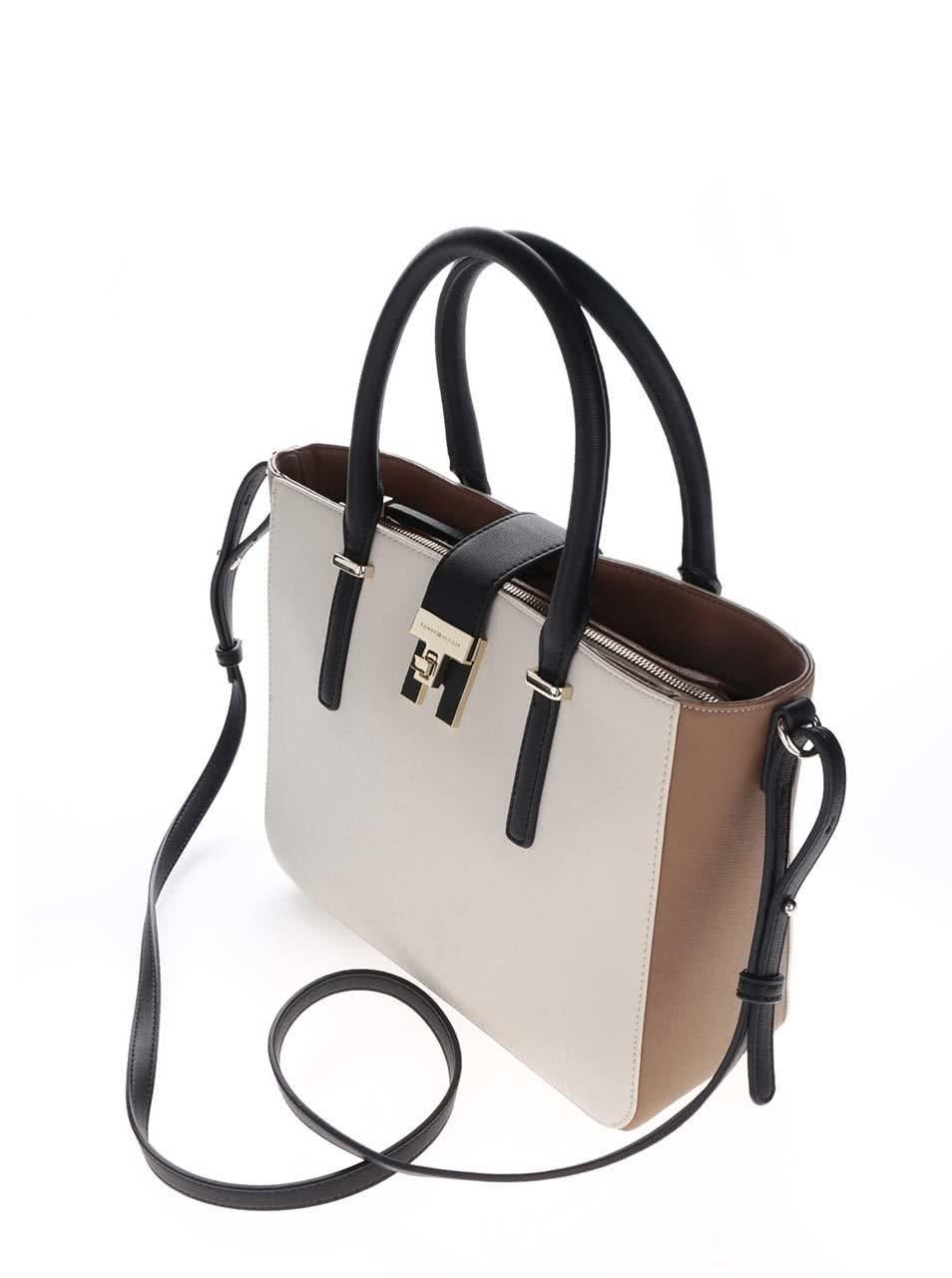 Černo-krémová kabelka se zlatými detaily Tommy Hilfiger ... 16963bbf1e2