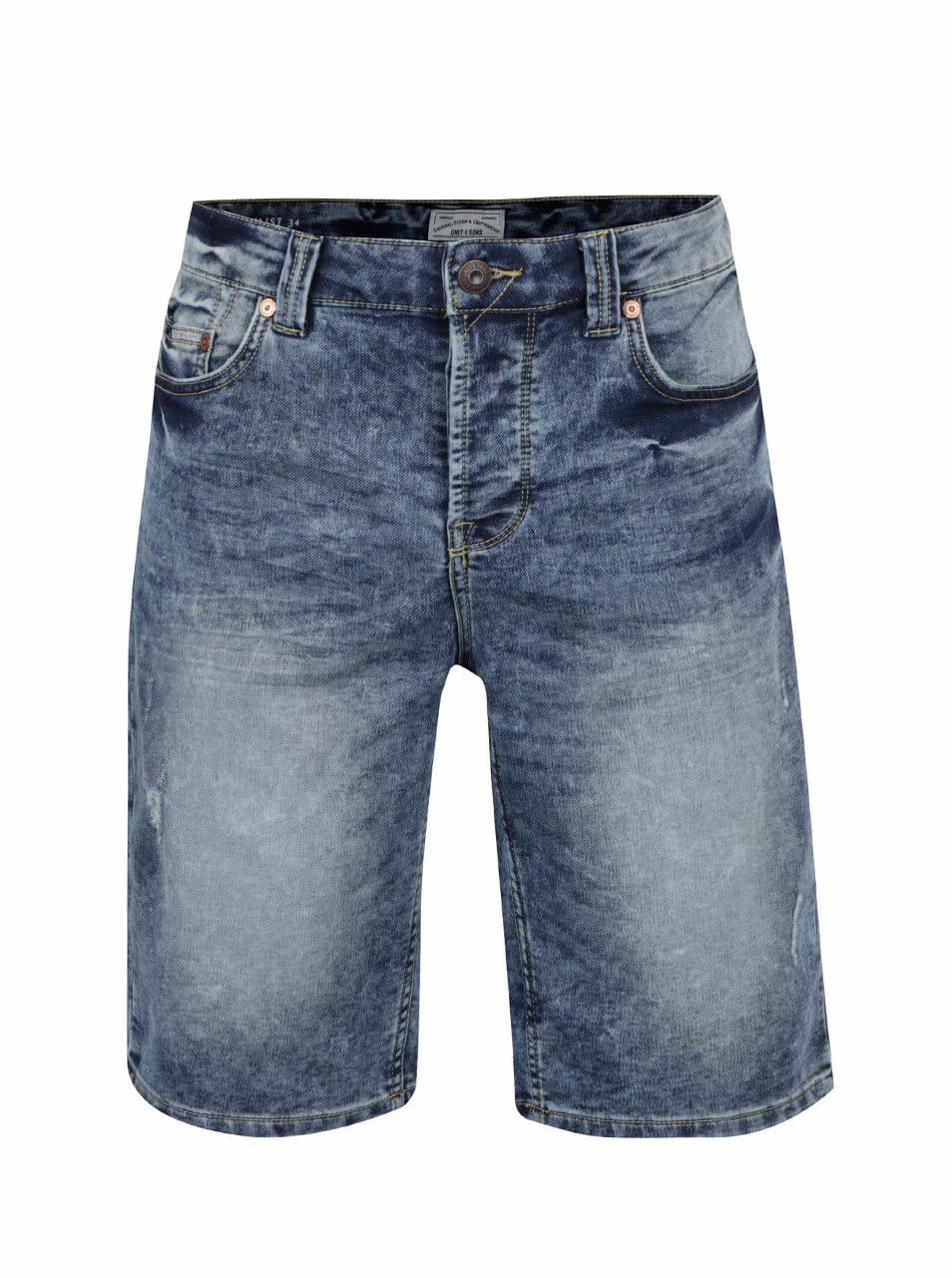 Modré džínové kraťasy s vyšisovaným efektem ONLY   SONS Loom Jog ... e880278231