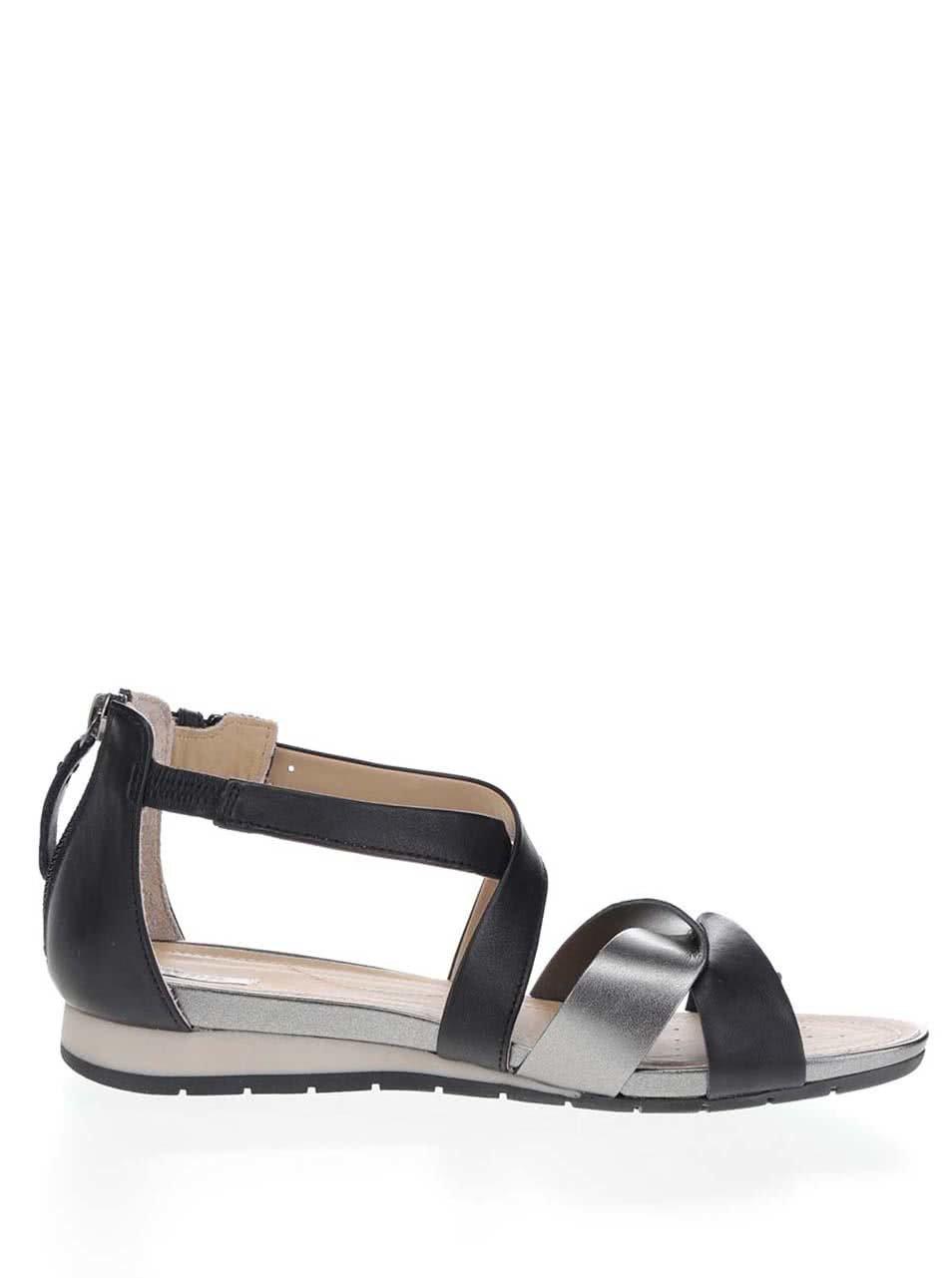65eda7a374fa Sivo-čierne dámske kožené sandále Geox Formosa ...