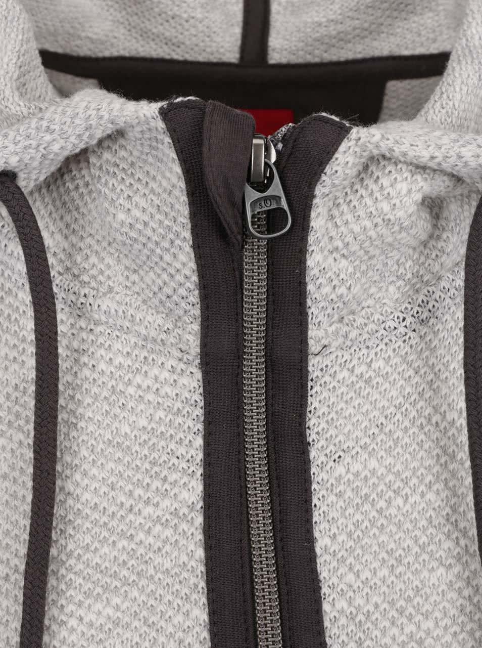 57d1a51e64a0 Sivo-biely pánsky sveter s kapucňou s.Oliver