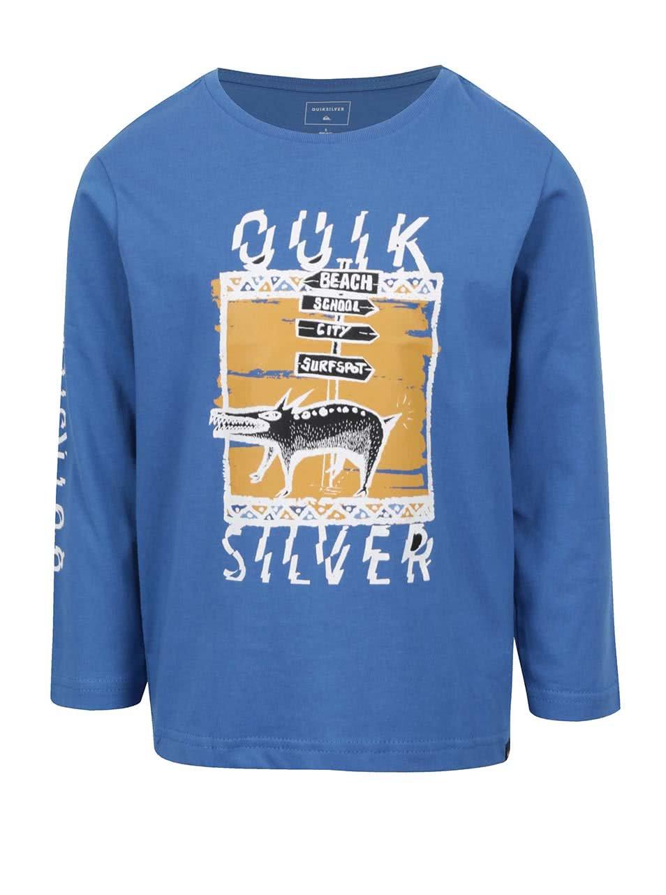 Modré chlapčenské tričko s dlhým rukávom a potlačou Quiksilver ... e05ecaaeb2