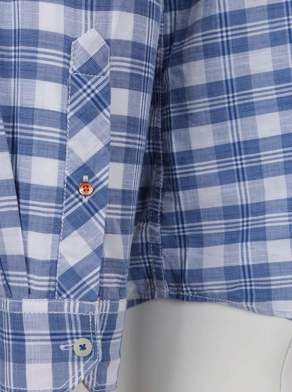 bbd9d51faaf4 Modrá károvaná pánska košeľa s vreckom s.Oliver