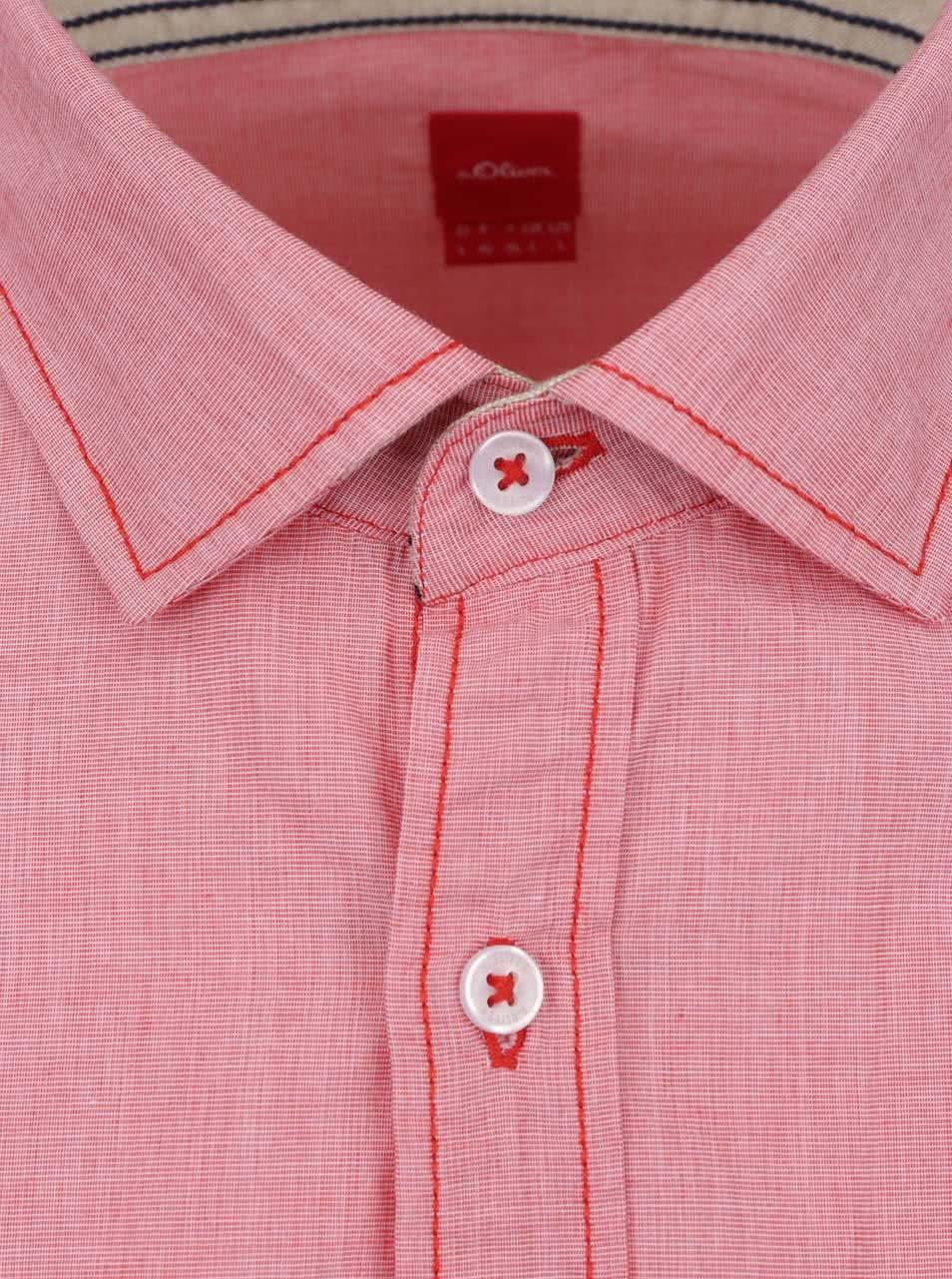 Červená pánská košile s kapsou s.Oliver ... 58dd3e1769