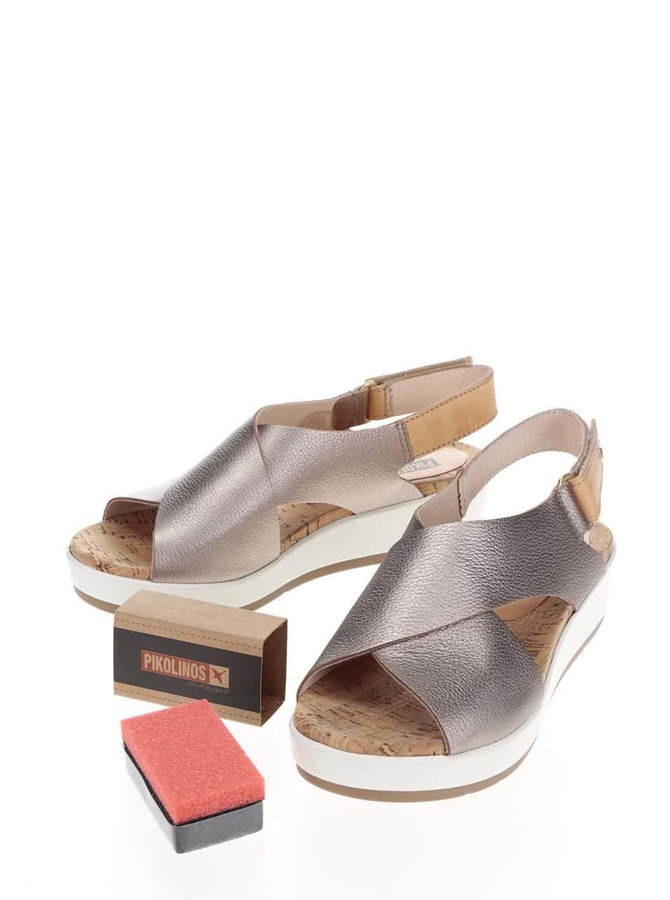 Béžové kožené metalické sandále na klinovom podpätku Mykonos ... 60f970c3e99