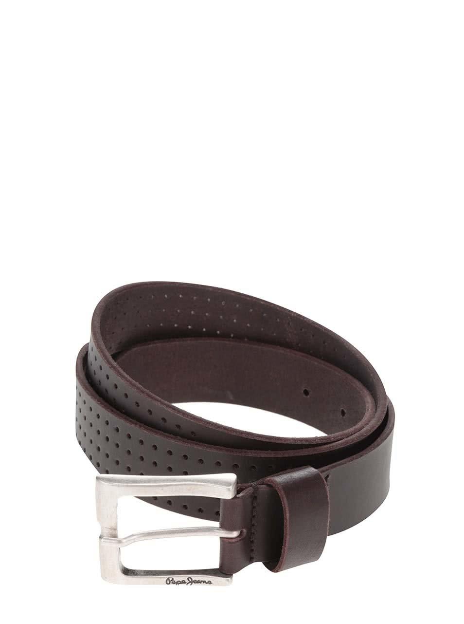 Hnědý pánský kožený pásek Pepe Jeans Balkio ... 0dfdb04064