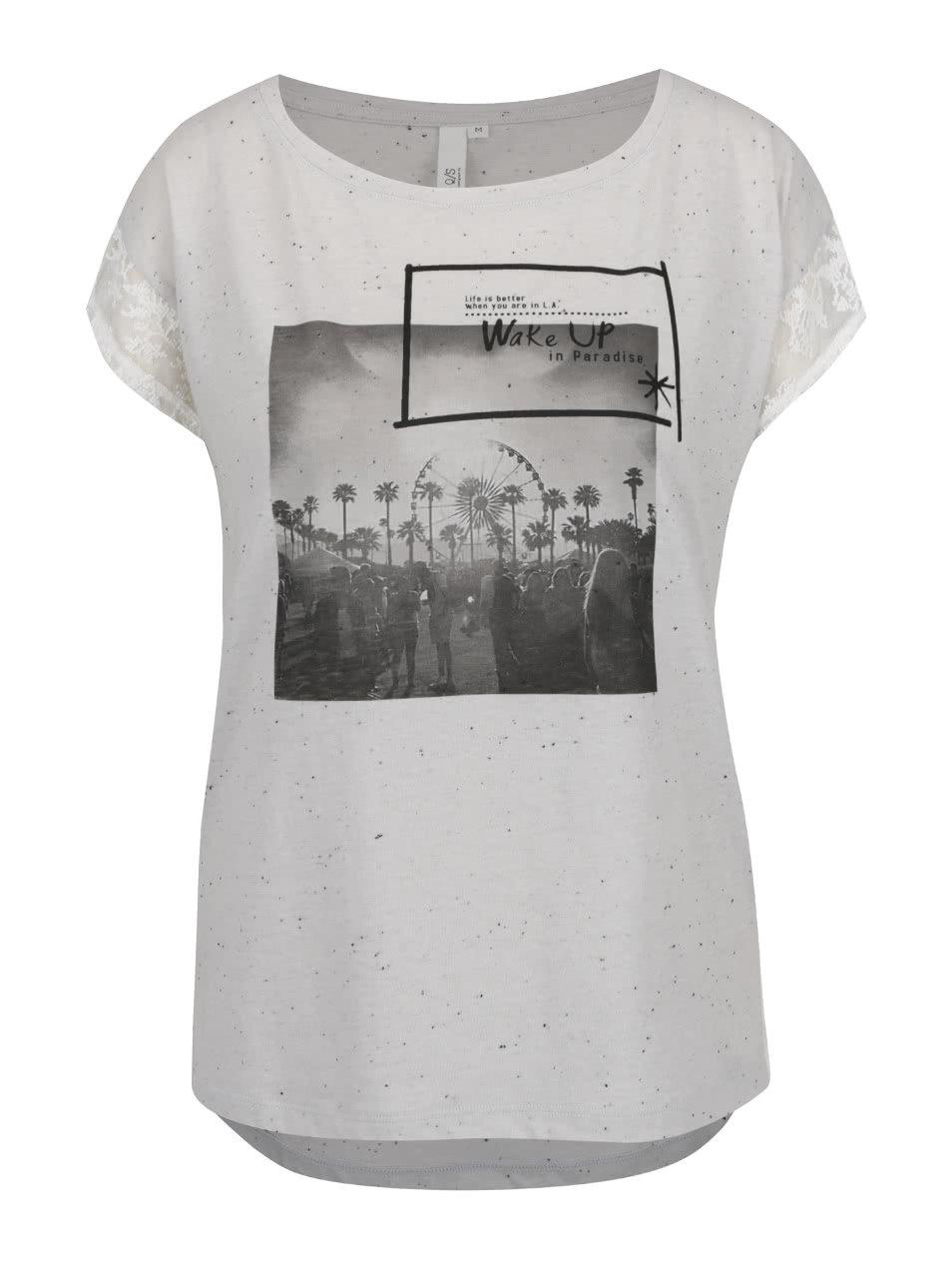 Sivé dámske tričko s čipkou QS by s.Oliver  dcc76332869