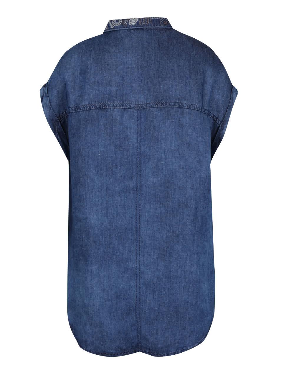 9dddce527a5 Modrá dámská džínová košile s krátkými rukávy Pepe Jeans Bandita ...