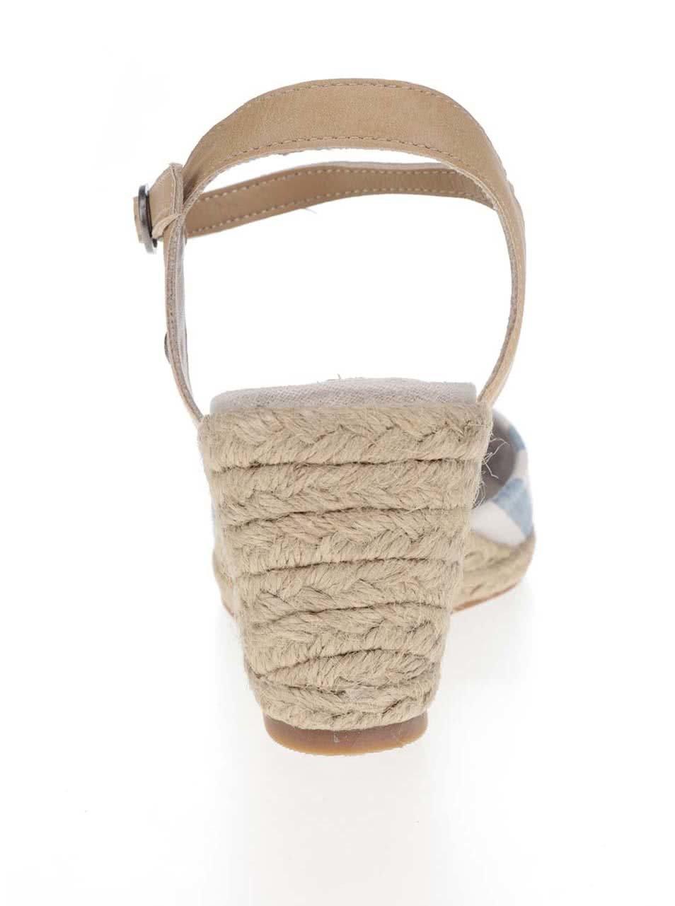 2a00eb2a499c Krémovo-modré pruhované sandále na klinovom podpätku Pepe Jeans Kinney ...