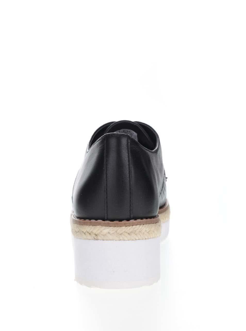 Čierne dámske kožené poltopánky na platforme ALDO Harber ... 17740511351