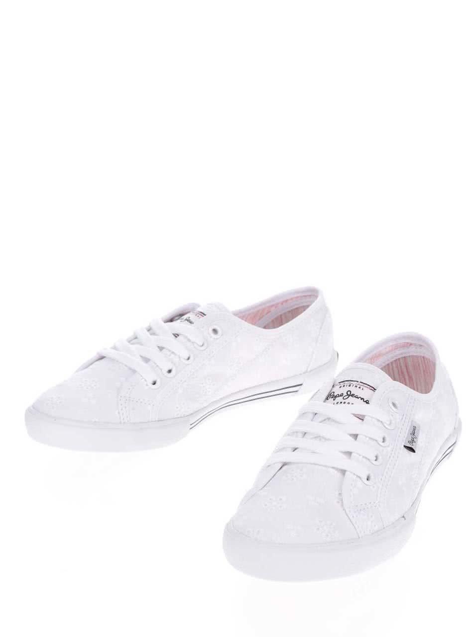 Bílé dámské tenisky s výšivkou Pepe Jeans Aberlady Anglaise ... cf2f18c172
