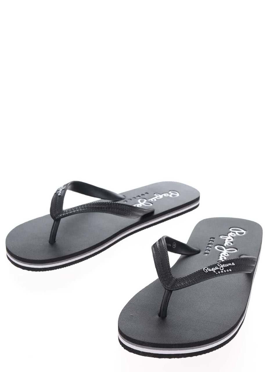 Černé pánské žabky s nápisem Pepe Jeans Swimming ... 0b5d2a9c68