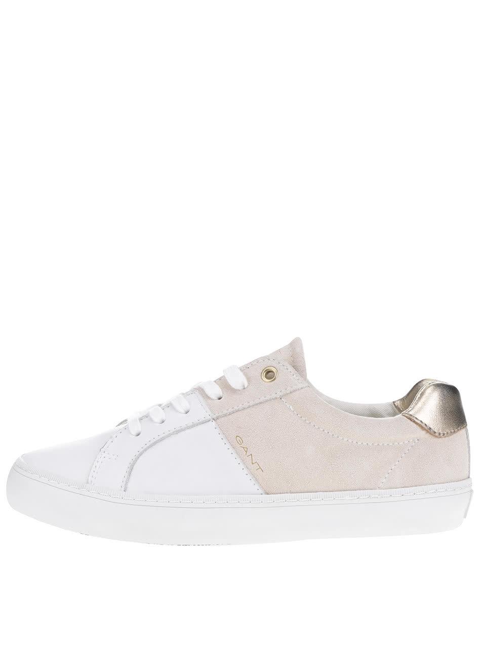 Béžovo-bílé dámské kožené tenisky GANT Alice ... e41a98db801