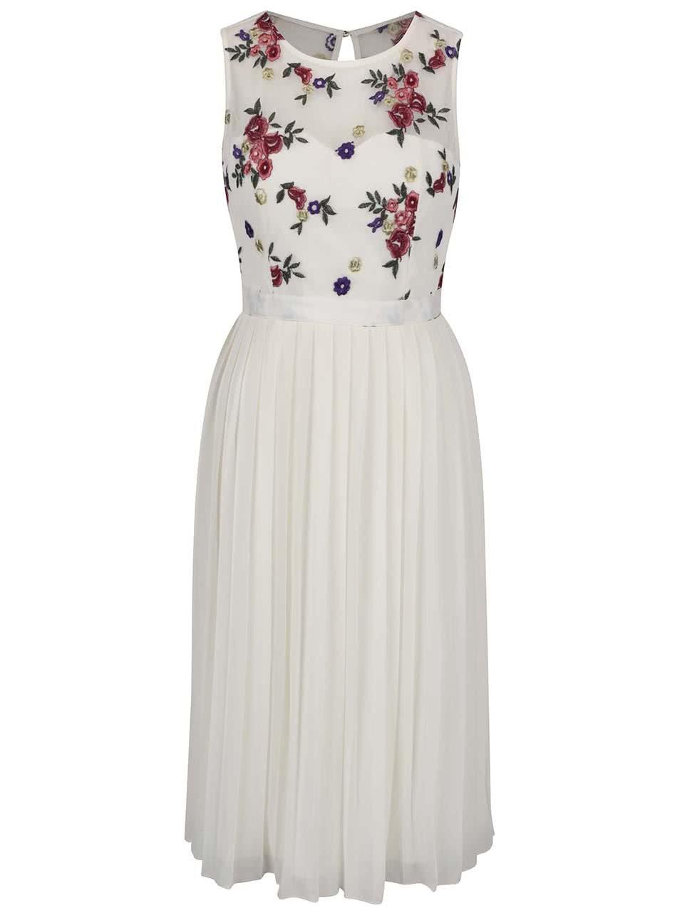 Krémové kvetinové midi šaty s plisovanou sukňou Little Mistress ... 246df656d8e