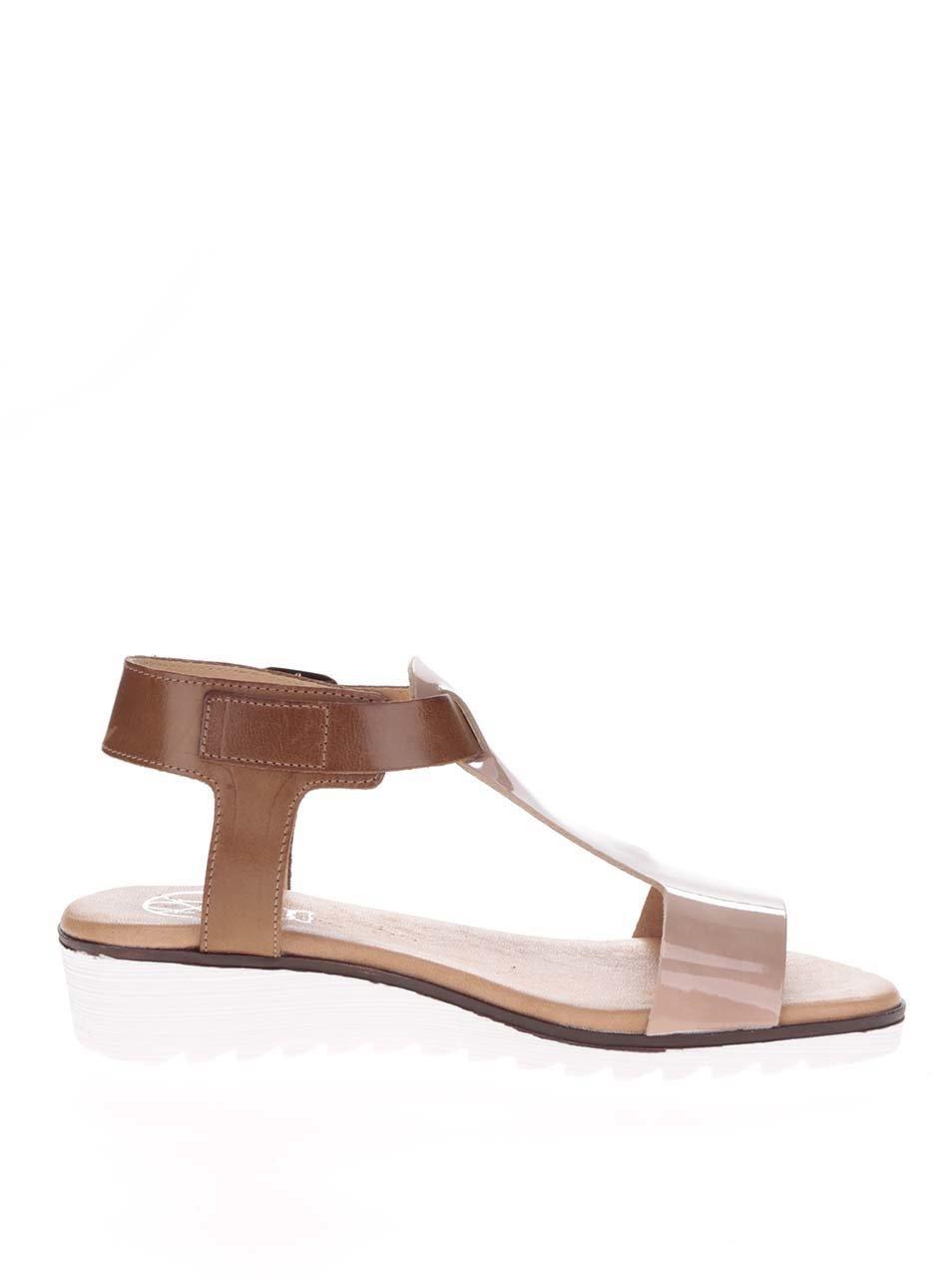 Hnědo-béžové kožené sandály OJJU ... fcfd5300c3
