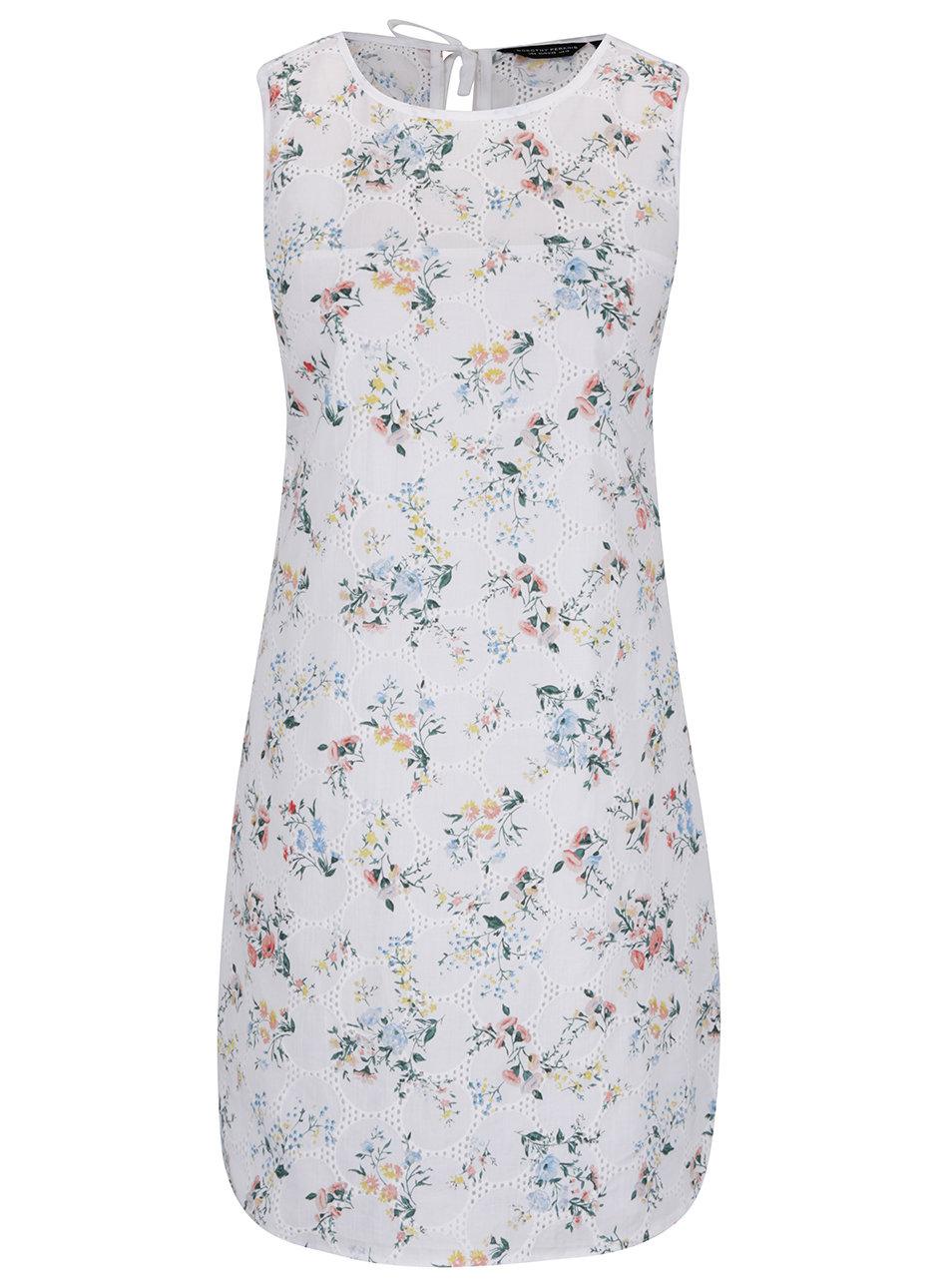 Biele kvetované šaty s madeirou Dorothy Perkins ... f51cfbb9b0b