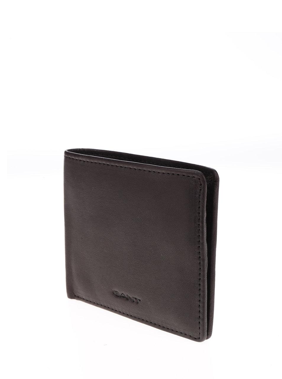 Tmavohnedá pánska kožená peňaženka GANT ... d8b38a071a8