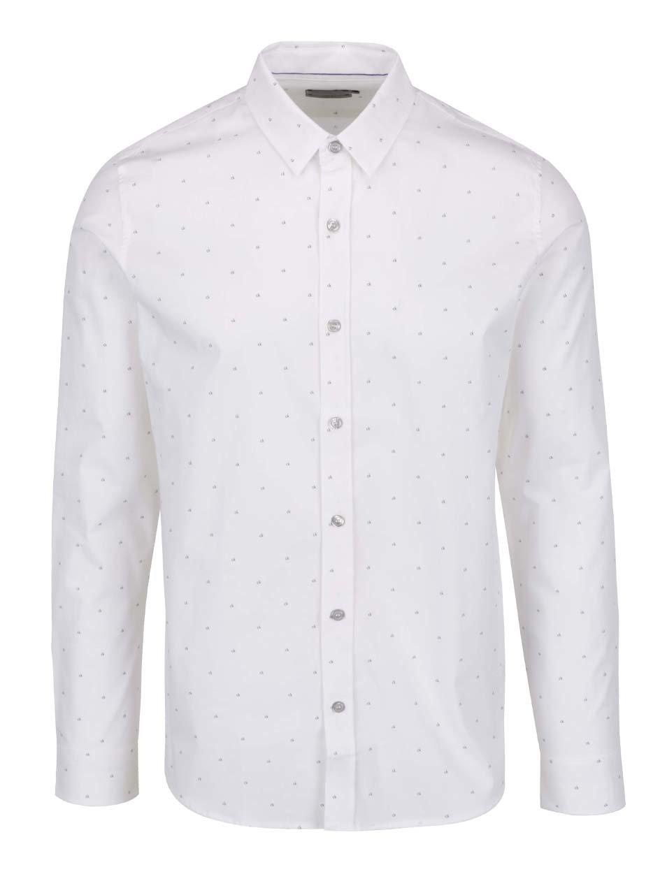 57d3484613 Biela pánska vzorovaná košeľa Calvin Klein Jeans ...