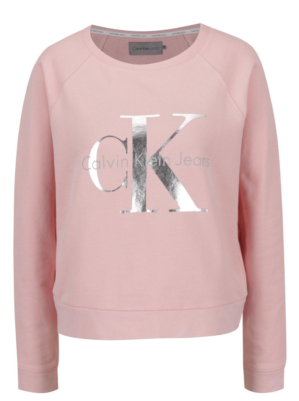 f363a07fb7b Růžová dámská mikina s potiskem ve stříbrné barvě Calvin Klein Jeans Hanna  ...