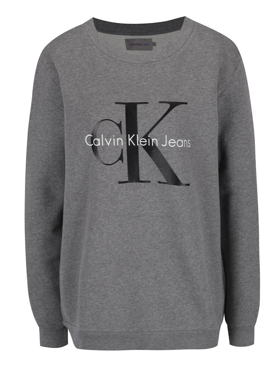 e4fb472bf4d Šedá dámská mikina s potiskem v černé barvě Calvin Klein Jeans Crew ...