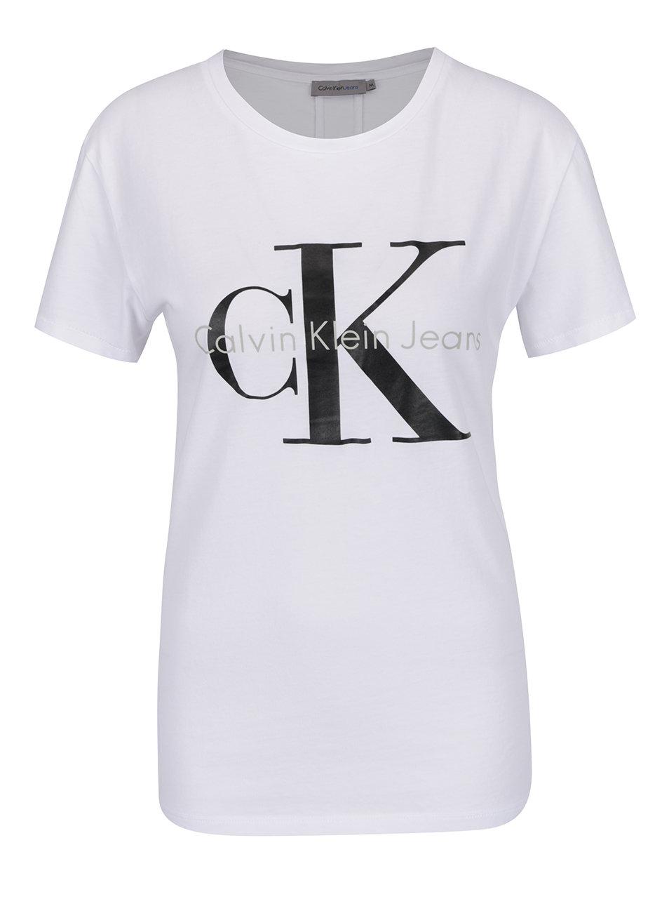 67586752efba Bílé dámské tričko Calvin Klein Jeans Shrunken ...