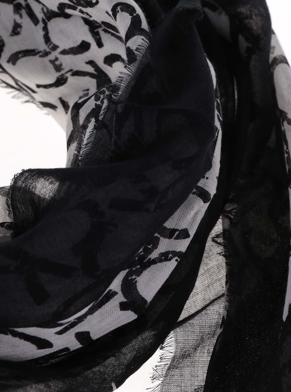 Krémovo-černý dámský vzorovaný šátek Calvin Klein ... 80715daf17