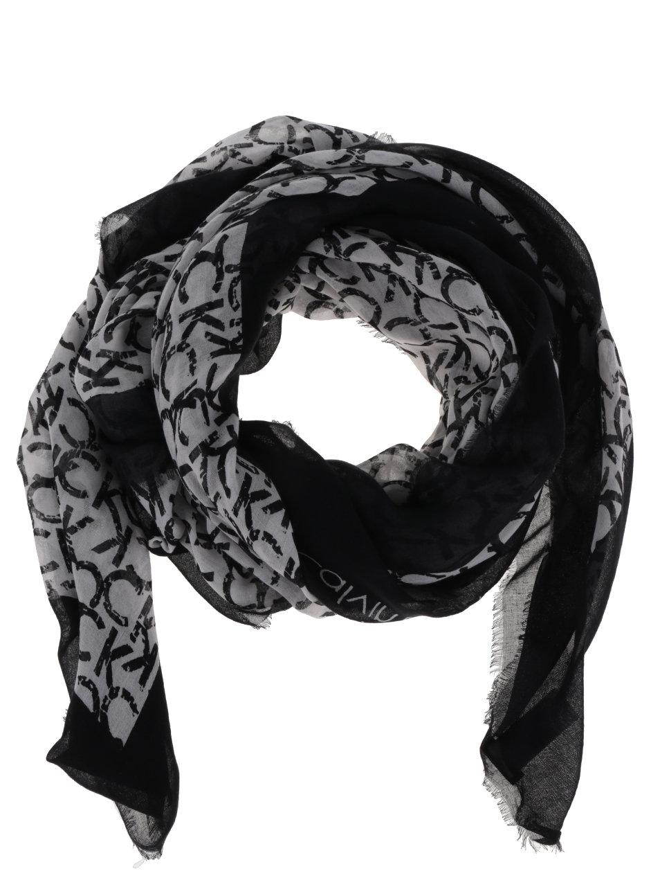 Krémovo-černý dámský vzorovaný šátek Calvin Klein ... 8e2a72783f