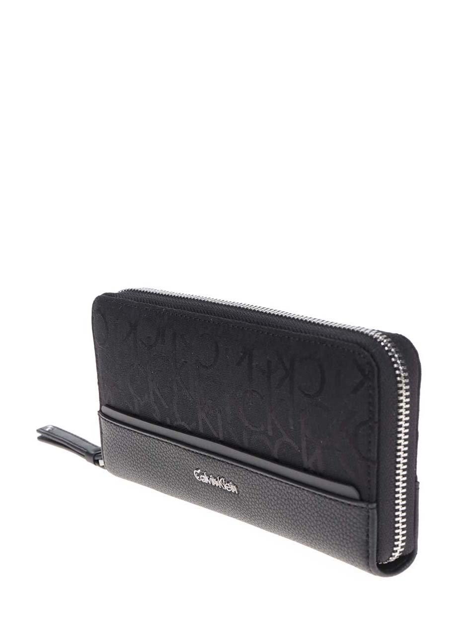 1a9dad4631 Čierna dámska peňaženka na zips Calvin Klein Jeans Marina ...