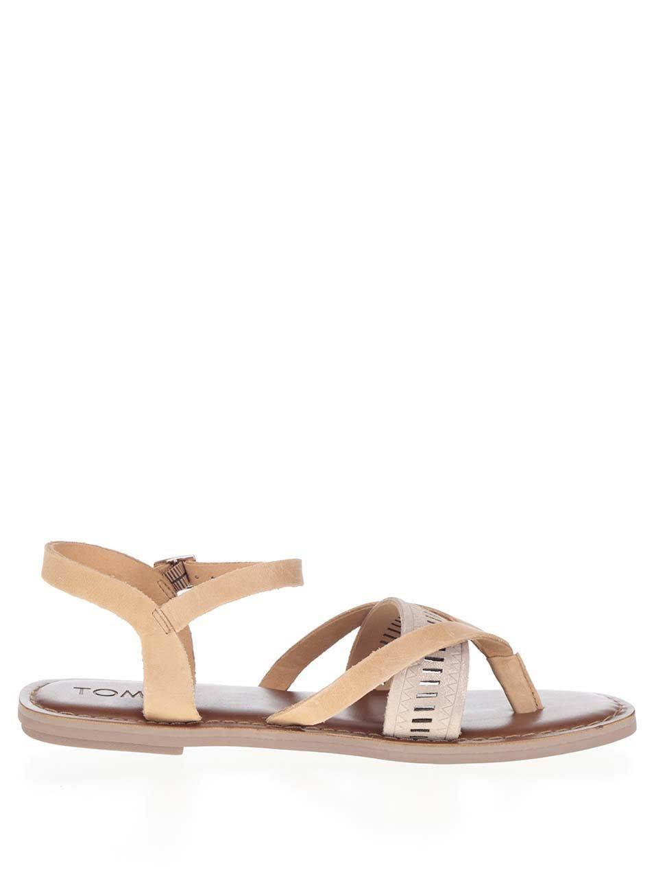 Hnědé kožené dámské sandály TOMS ... d09172bd6e