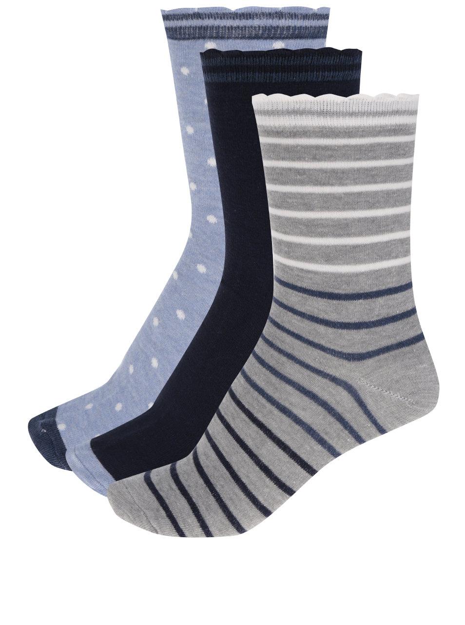 fbdcf1c6bc7ea Súprava troch párov dámskych vzorovaných ponožiek v modrej farbe M&Co ...