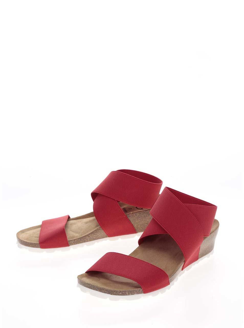 aff5126c4acd Červené dámske sandále s pružnými remienkami OJJU ...