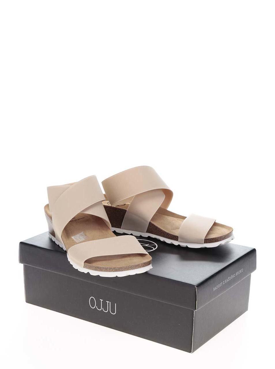 e4308889daa7 Béžové dámske sandále s pružnými remienkami OJJU ...