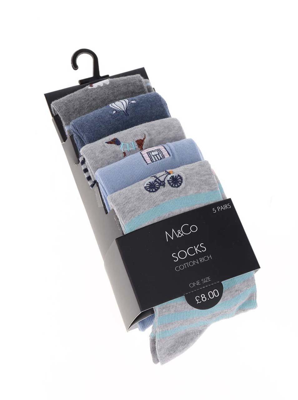 018a7c41b53eb Súprava piatich párov dámskych ponožiek v sivej a modrej farbe M&Co ...