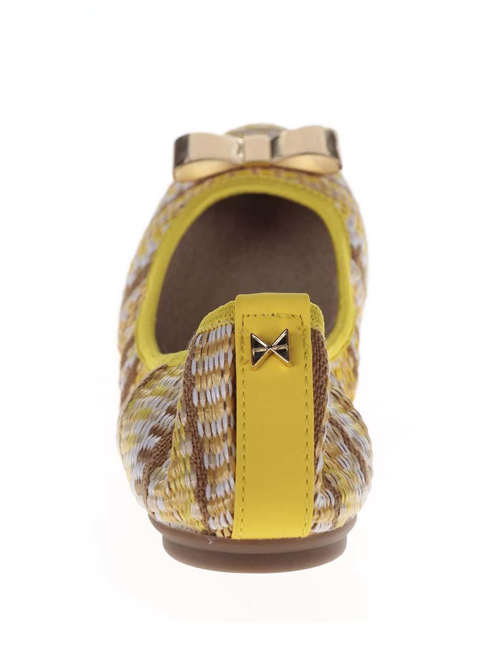 36b488cbd Hnedo-žlté vzorované baleríny s mašľou v zlatej farbe do kabelky Butterfly  Twists Chloe ...