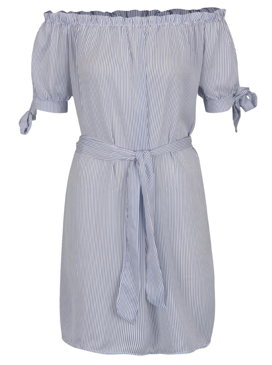 Modro-biele pruhované šaty Haily s Sabrina ... 5f9a2805b71