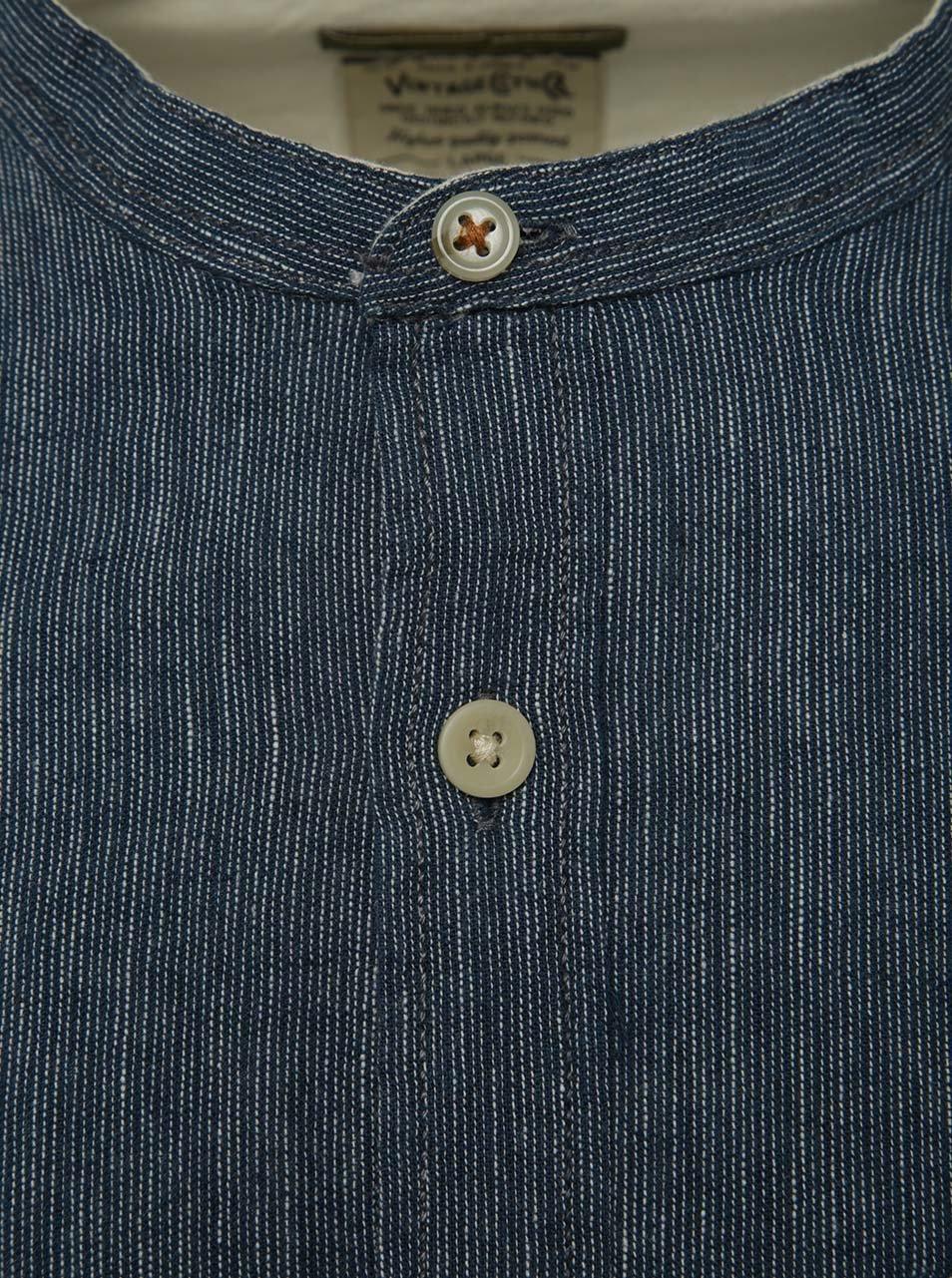 Modrá lněná košile bez límečku Jack   Jones Bay ... 6a46cfd61e