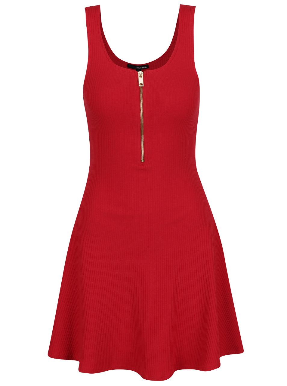 cdeec64c6451 Červené šaty se zipem ve zlaté barvě TALLY WEiJL ...