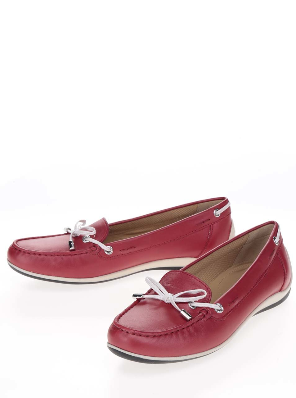Červené dámské kožené mokasíny Geox Yuki ... 491a2fd63e7