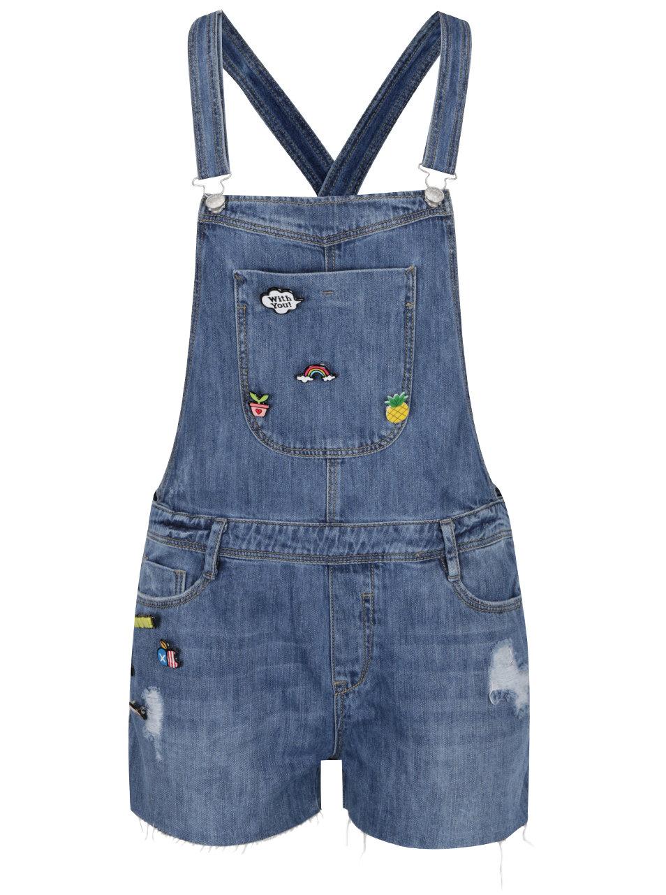 Modré džínové kraťasy s laclem a plastovými odznaky TALLY WEiJL ... e72ba4bd12