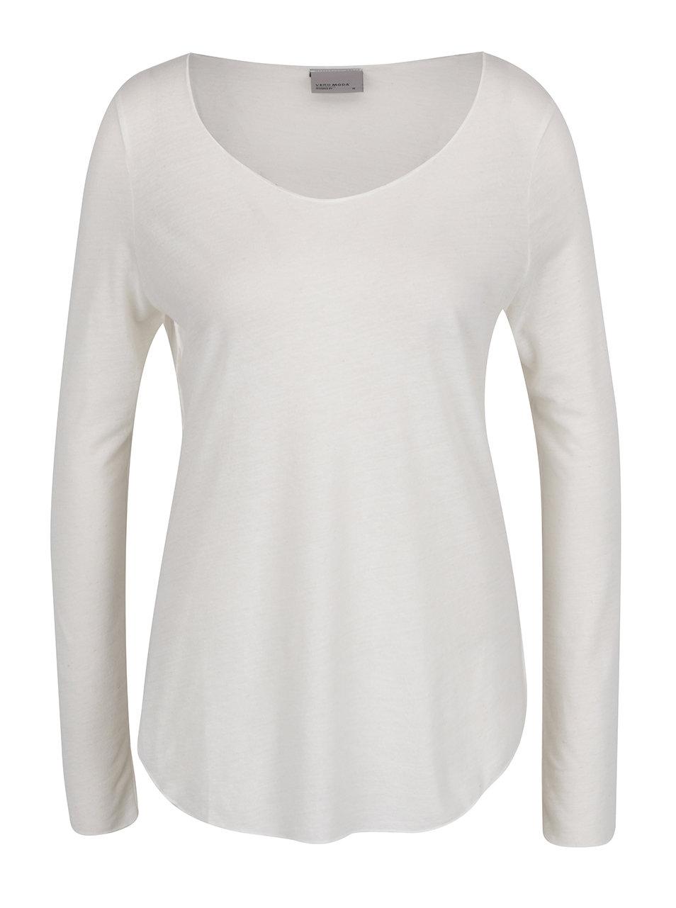 Bílé žíhané triko s dlouhým rukávem VERO MODA Lua ... 2ecbfa79d0